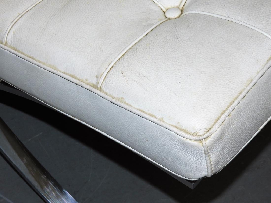 Mies van der Rohe White Barcelona Chairs & Stool - 7
