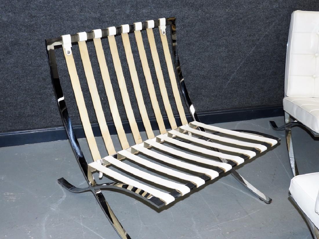 Mies van der Rohe White Barcelona Chairs & Stool - 8