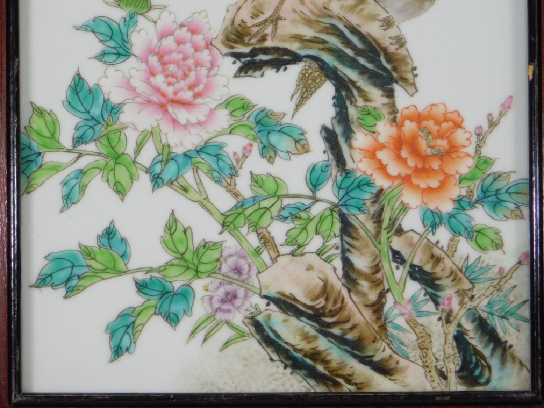 20C. Chinese Enameled Porcelain Avian Bird Plaque - 4