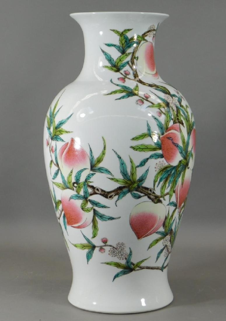Chinese Republic Famille Rose Porcelain Peach Vase - 2