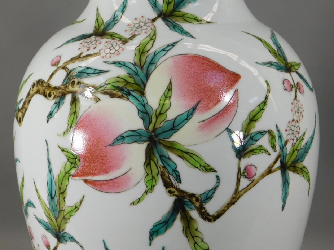 Chinese Republic Famille Rose Porcelain Peach Vase - 3