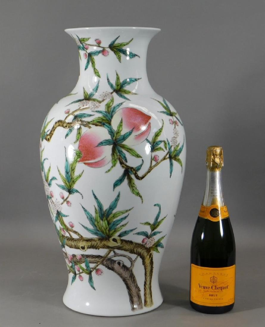 Chinese Republic Famille Rose Porcelain Peach Vase - 6