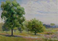 J.E Smith New England Summer Landscape WC Painting