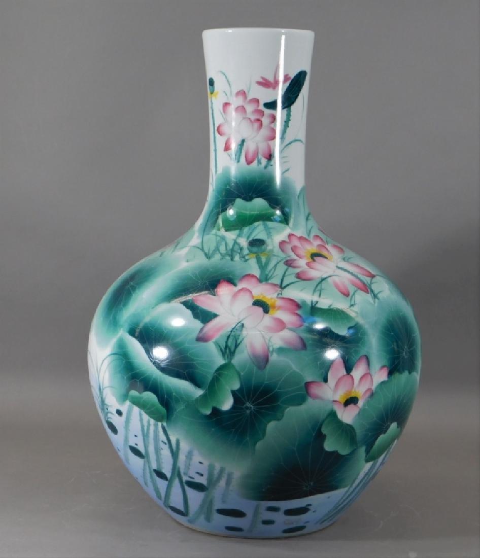 Chinese Globular Famille Rose Lotus Porcelain Vase