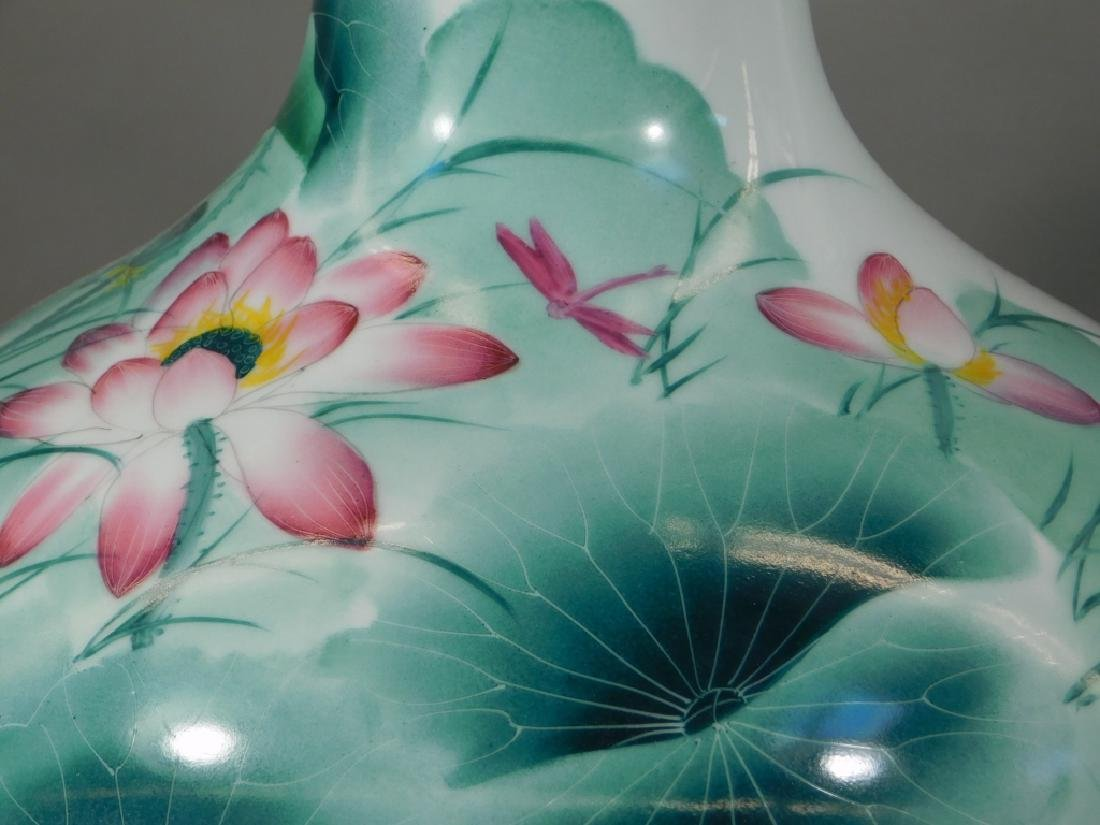 Chinese Globular Famille Rose Lotus Porcelain Vase - 3