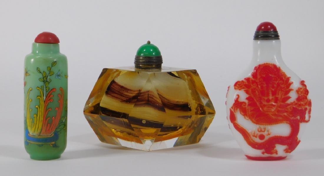 3 Chinese Peking Glass & Art Glass Snuff Bottles