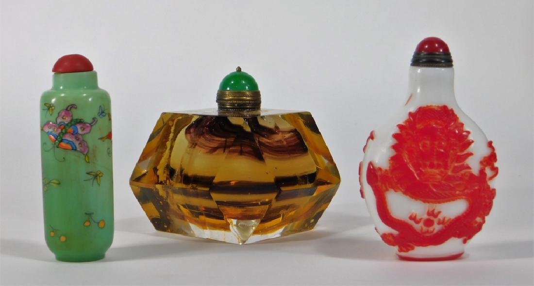 3 Chinese Peking Glass & Art Glass Snuff Bottles - 2