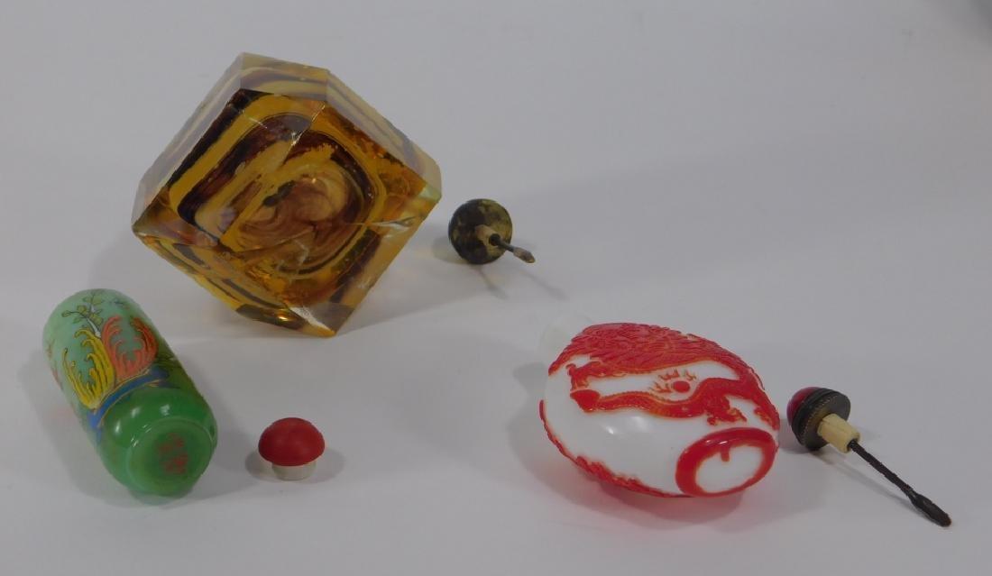 3 Chinese Peking Glass & Art Glass Snuff Bottles - 4