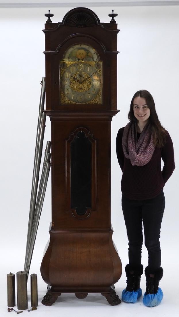Waltham Co. Mahogany Bombay Case Grandfather Clock