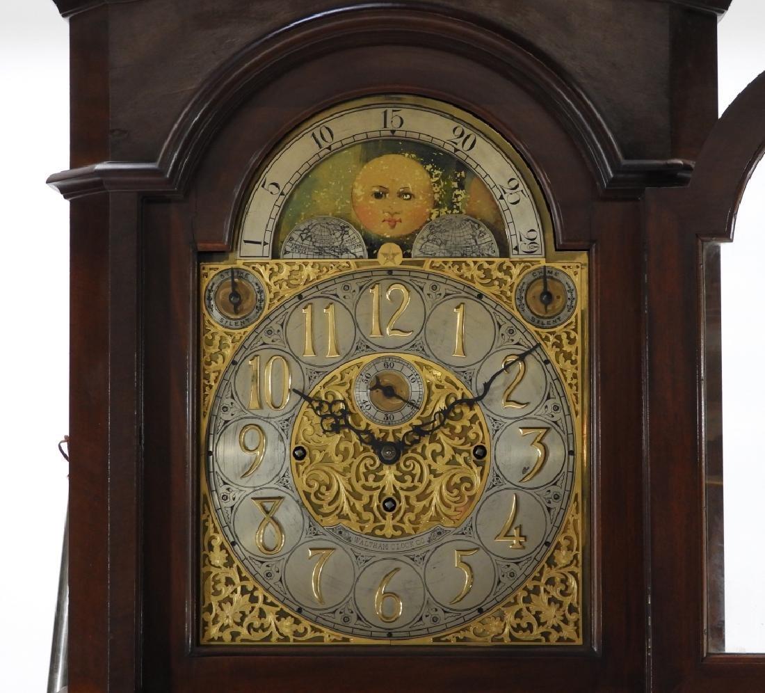 Waltham Co. Mahogany Bombay Case Grandfather Clock - 3