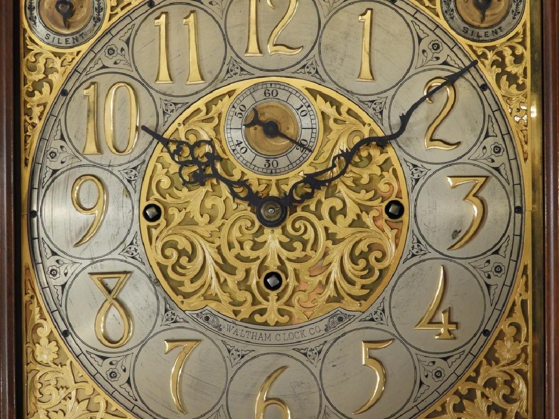 Waltham Co. Mahogany Bombay Case Grandfather Clock - 5