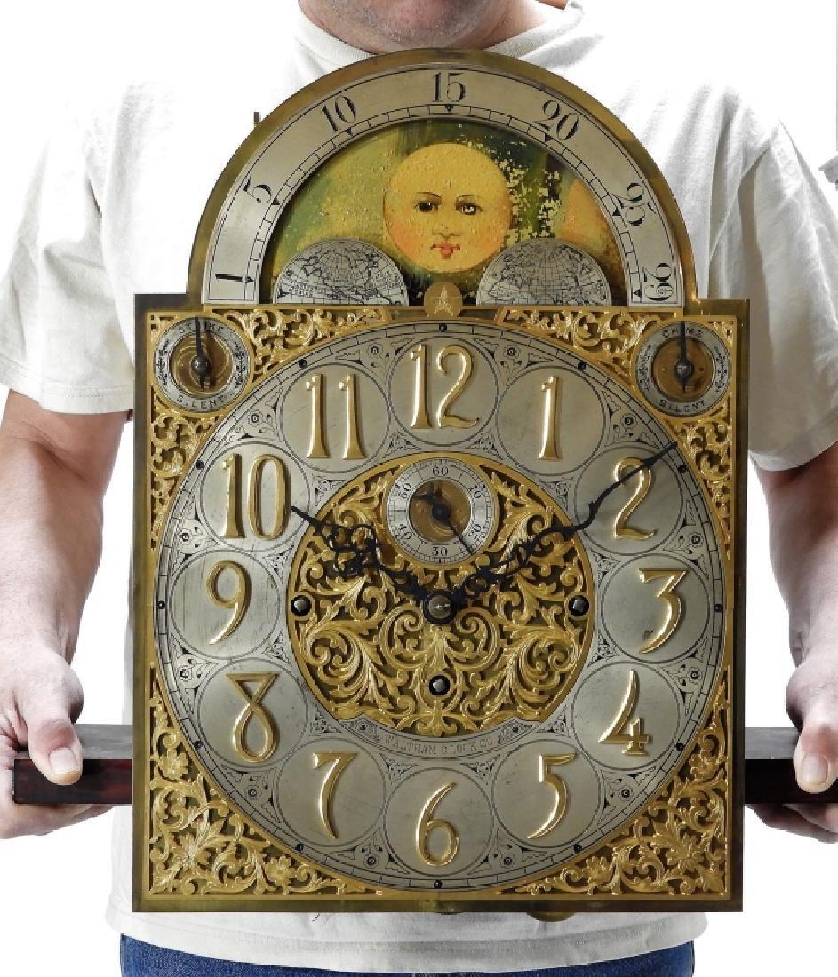 Waltham Co. Mahogany Bombay Case Grandfather Clock - 7