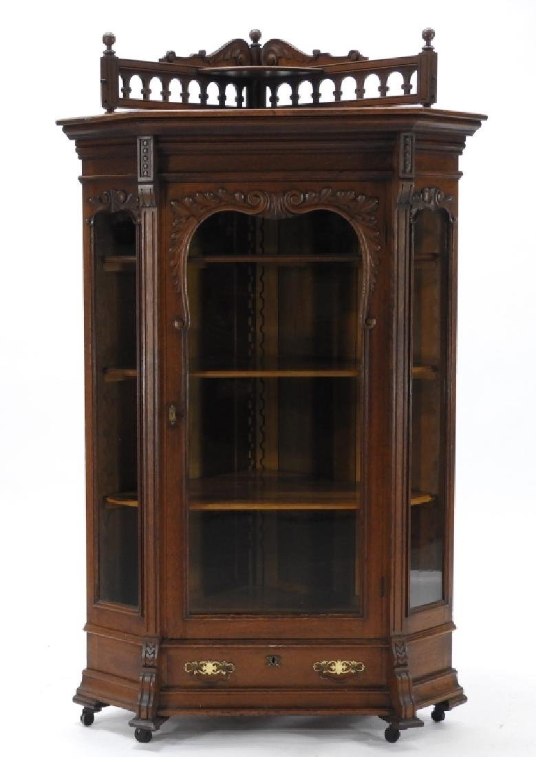 19C Victorian Oak Corner Bookcase China Cabinet