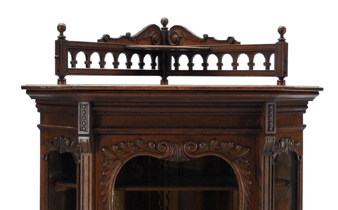 19C Victorian Oak Corner Bookcase China Cabinet - 2