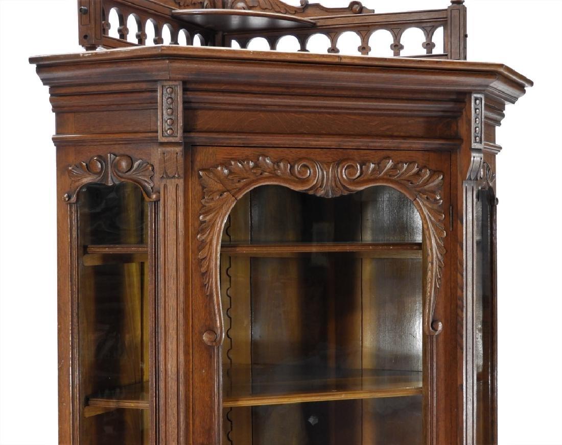 19C Victorian Oak Corner Bookcase China Cabinet - 3