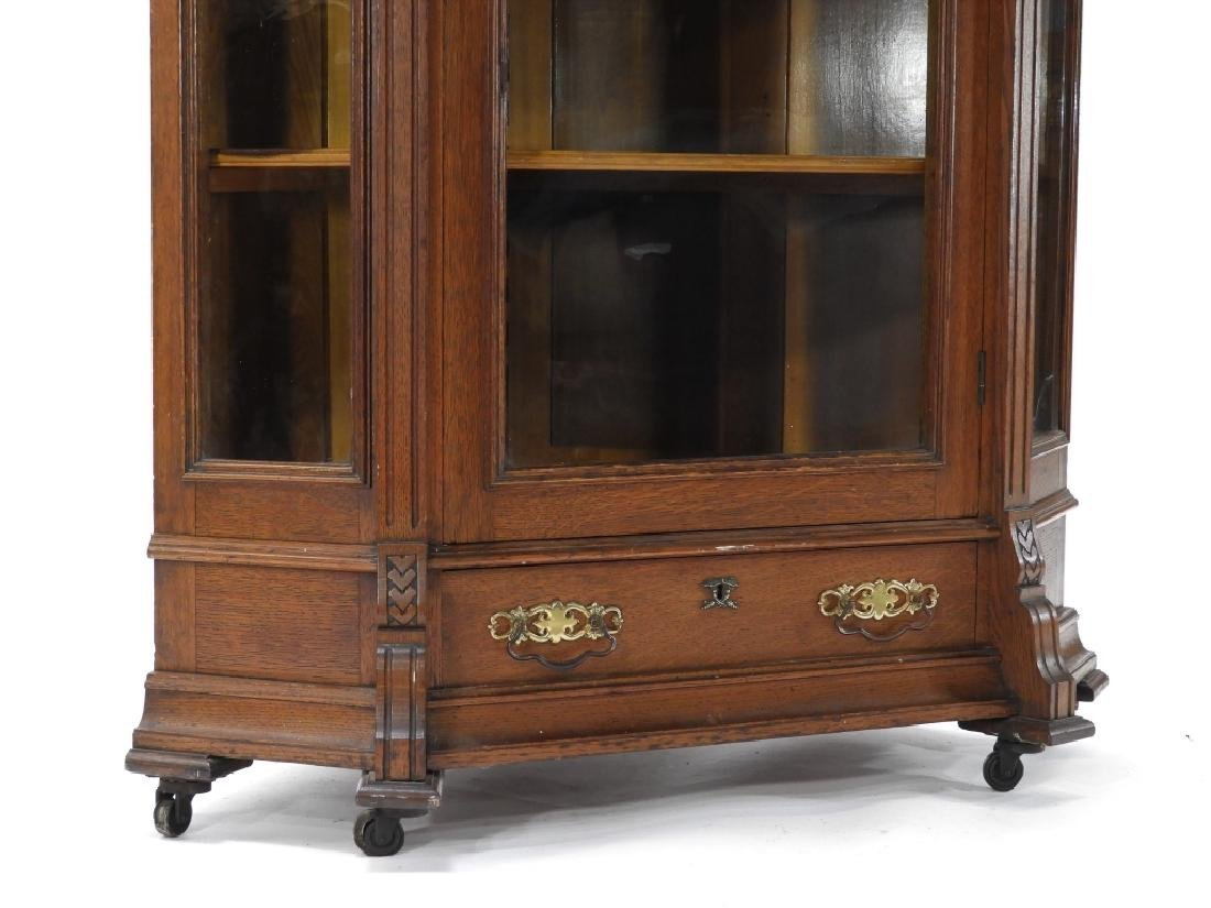19C Victorian Oak Corner Bookcase China Cabinet - 4