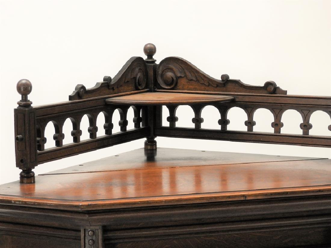 19C Victorian Oak Corner Bookcase China Cabinet - 5