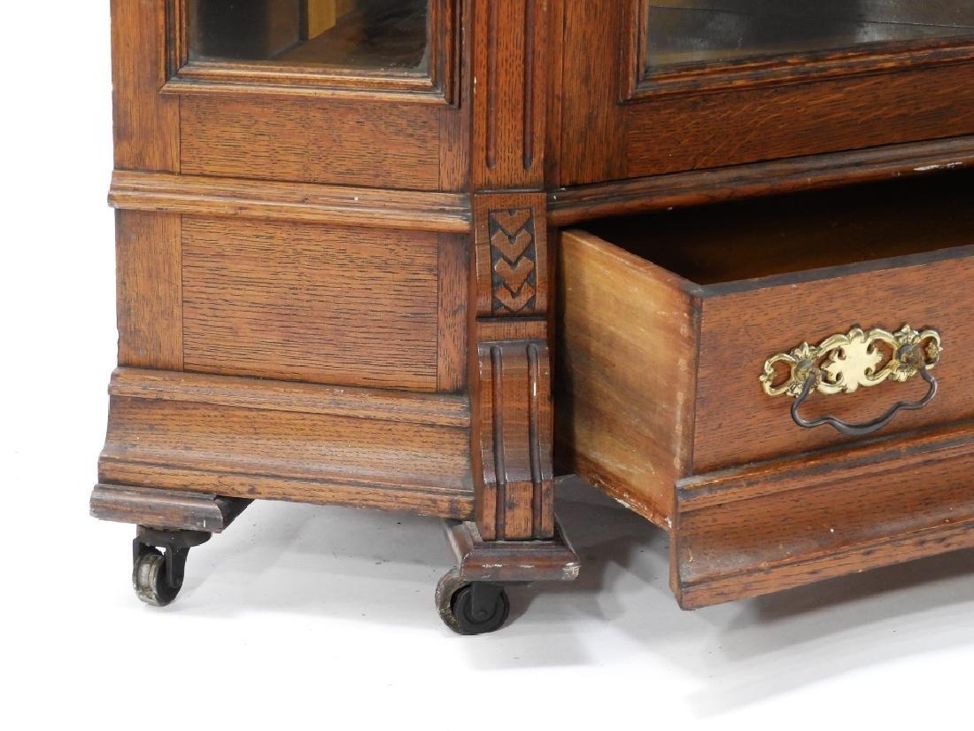 19C Victorian Oak Corner Bookcase China Cabinet - 6