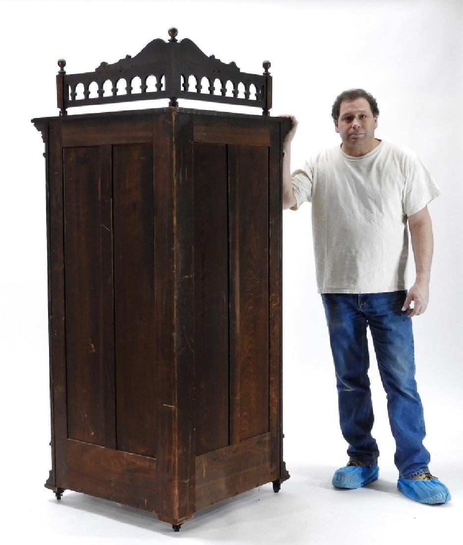 19C Victorian Oak Corner Bookcase China Cabinet - 7