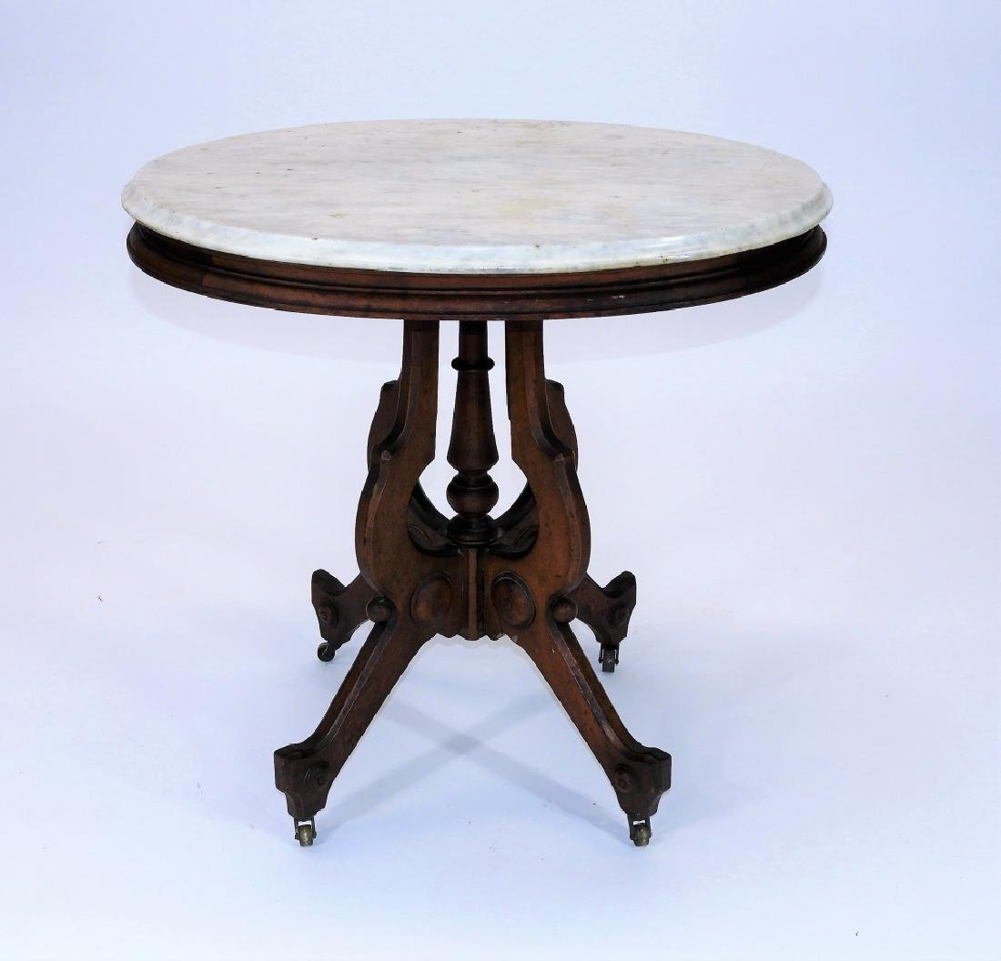 19C. Victorian Walnut Oval Marble Top Table