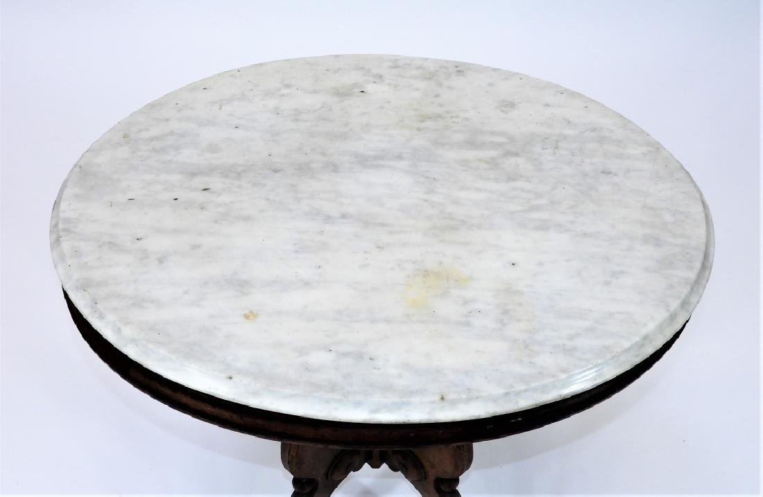 19C. Victorian Walnut Oval Marble Top Table - 2