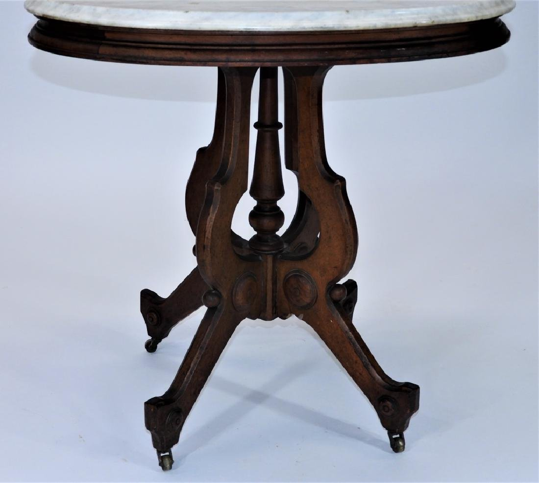 19C. Victorian Walnut Oval Marble Top Table - 3