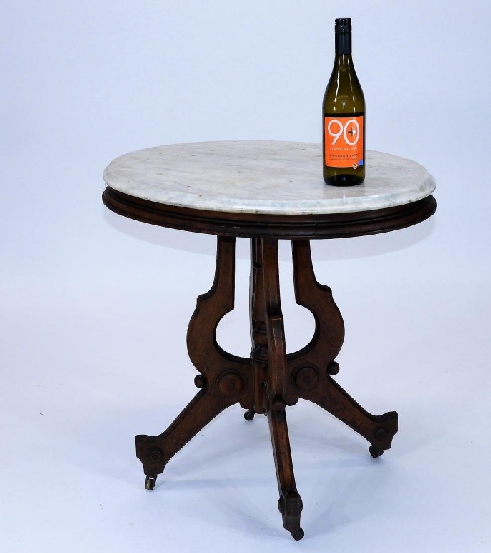 19C. Victorian Walnut Oval Marble Top Table - 6