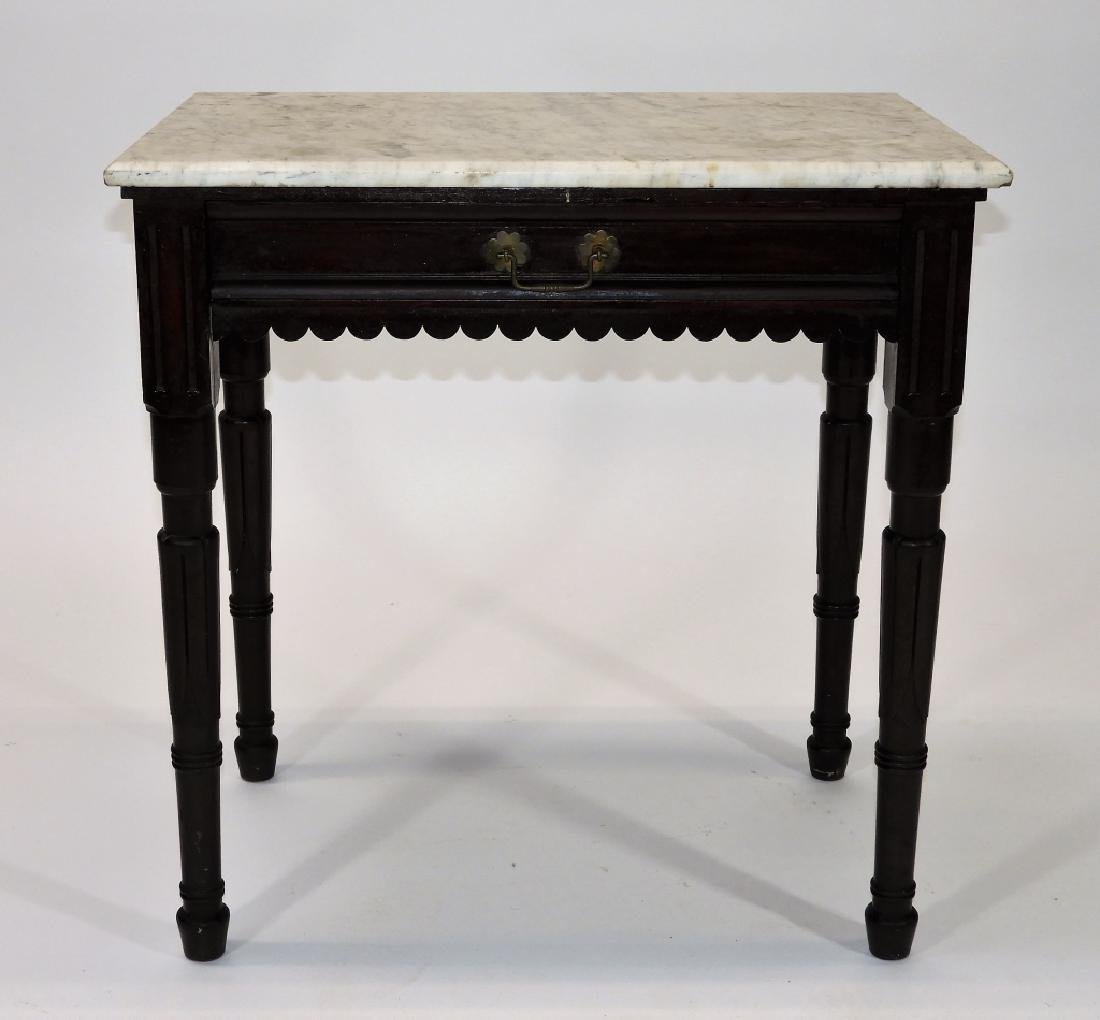 Walnut Marble Top One Drawer Work Stand Table - 2