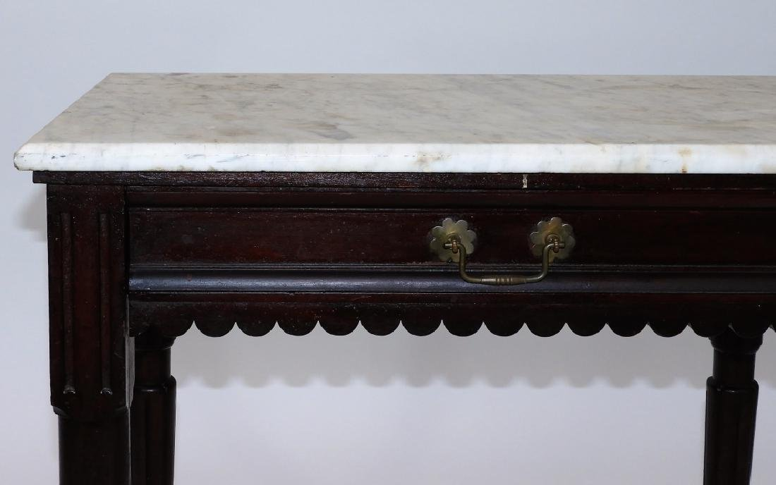 Walnut Marble Top One Drawer Work Stand Table - 3