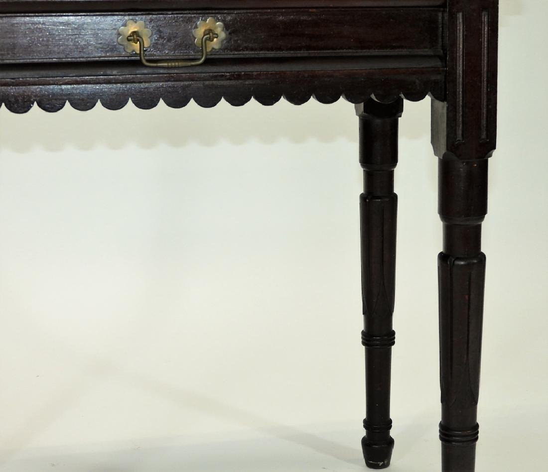 Walnut Marble Top One Drawer Work Stand Table - 6