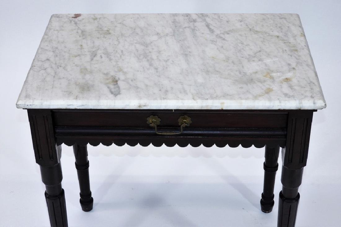 Walnut Marble Top One Drawer Work Stand Table - 7