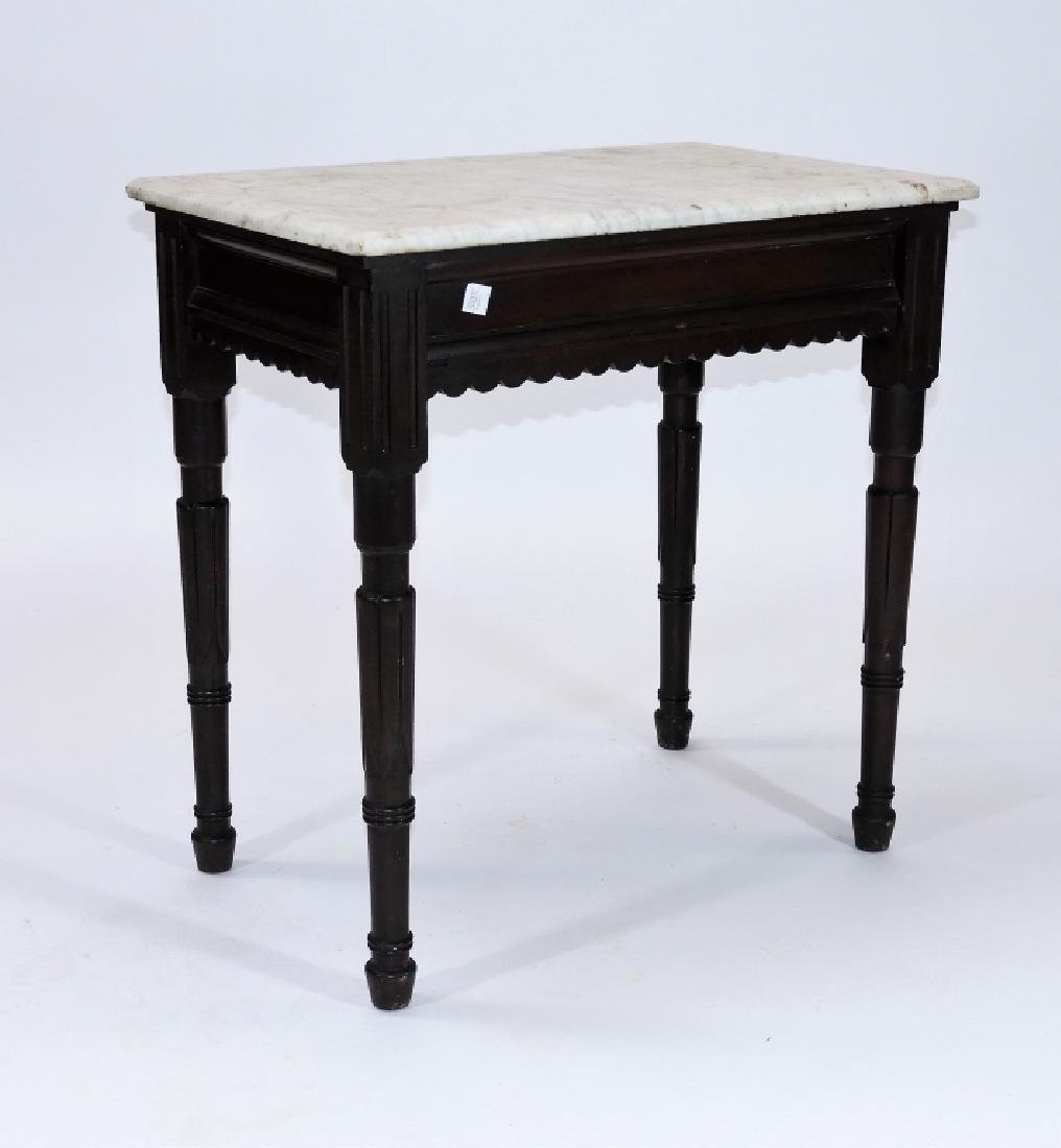Walnut Marble Top One Drawer Work Stand Table - 8