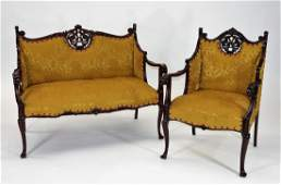 FINE 2PC Victorian Carved Mahogany Parlor Set