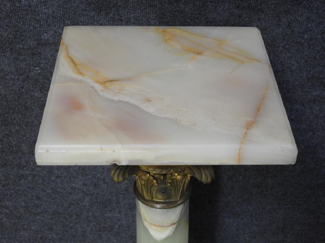 European Alabaster Acanthus Leaf Column Pedestal - 3