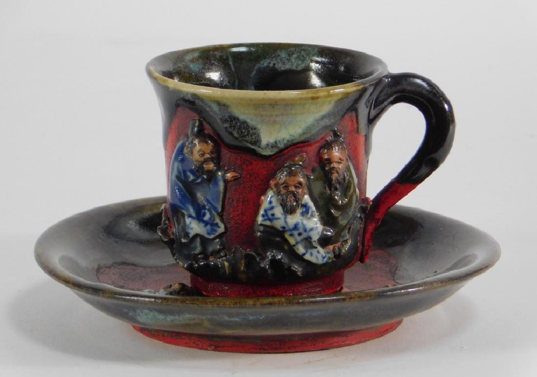 19C Japanese Sumida Gawa Pottery Cup & Saucer