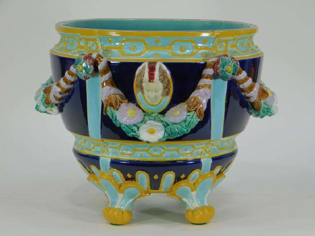 19C English Victorian Majolica Pottery Jardiniere