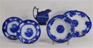 5 Staffordshire Flow Blue Lafayette Pottery Group