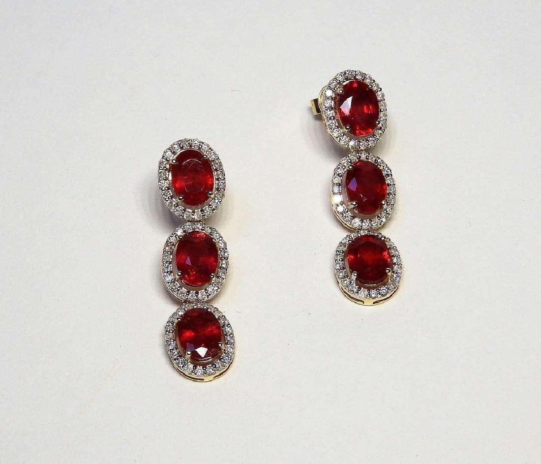 14K Yellow Gold Ruby & Diamond Ladys Drop Earrings