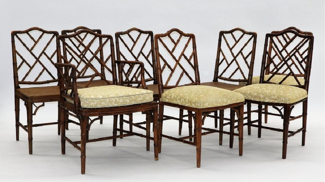 Set 8 Faux Bamboo Caned Chippendale Style Chairs