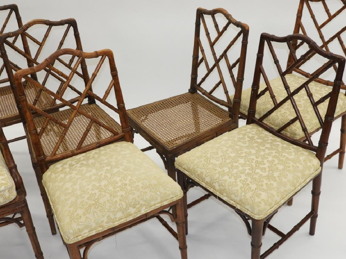 Set 8 Faux Bamboo Caned Chippendale Style Chairs - 2