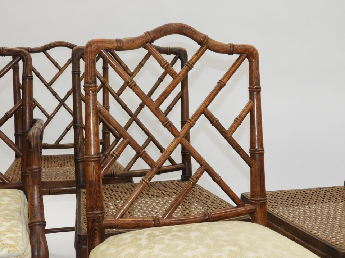 Set 8 Faux Bamboo Caned Chippendale Style Chairs - 3