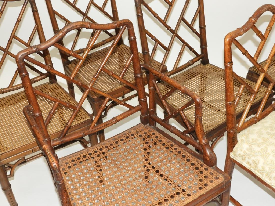 Set 8 Faux Bamboo Caned Chippendale Style Chairs - 4