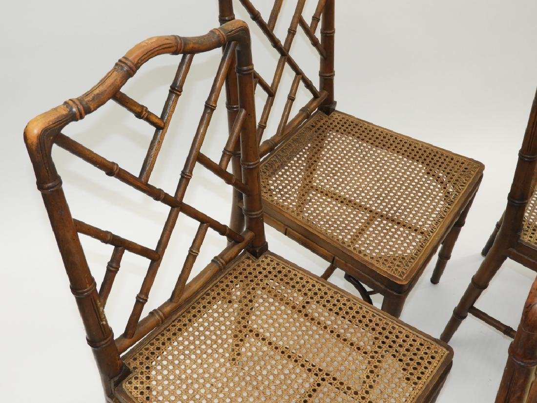 Set 8 Faux Bamboo Caned Chippendale Style Chairs - 5