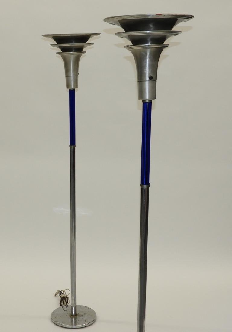 PR MCM Chrome Cobalt Glass Art Deco Floor Lamps