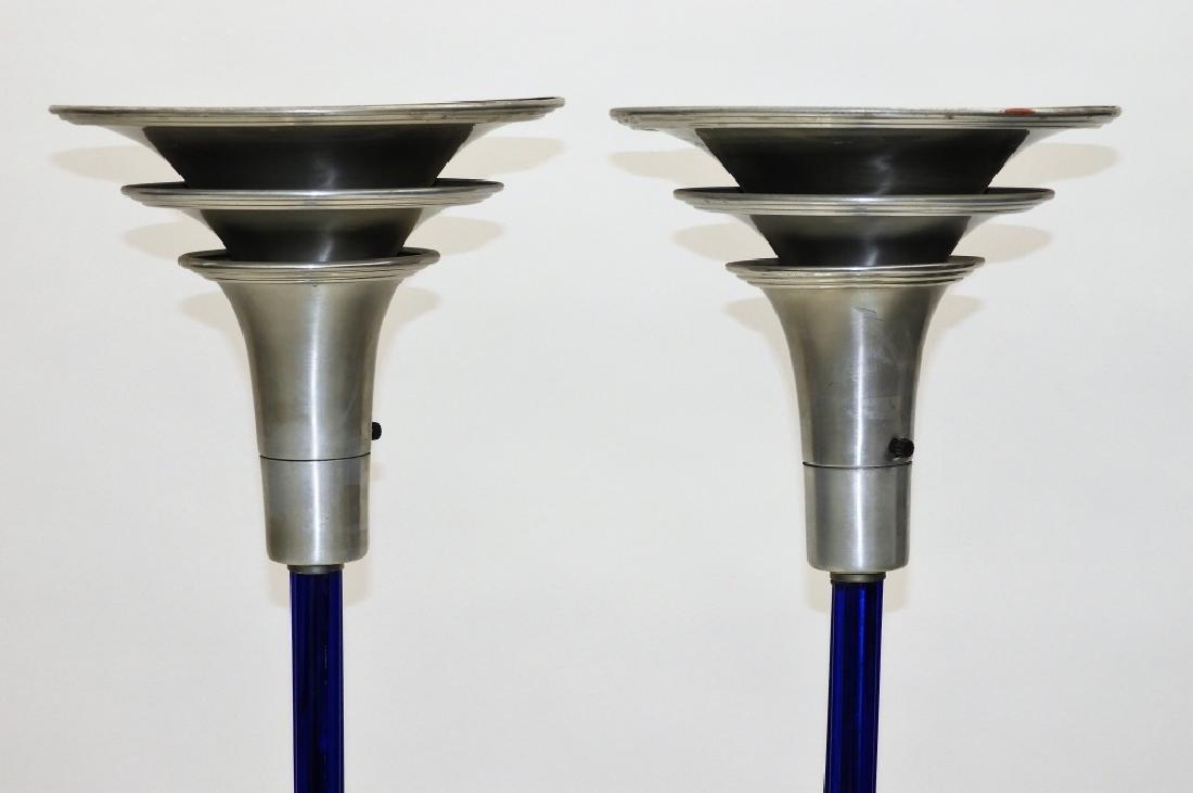 PR MCM Chrome Cobalt Glass Art Deco Floor Lamps - 3