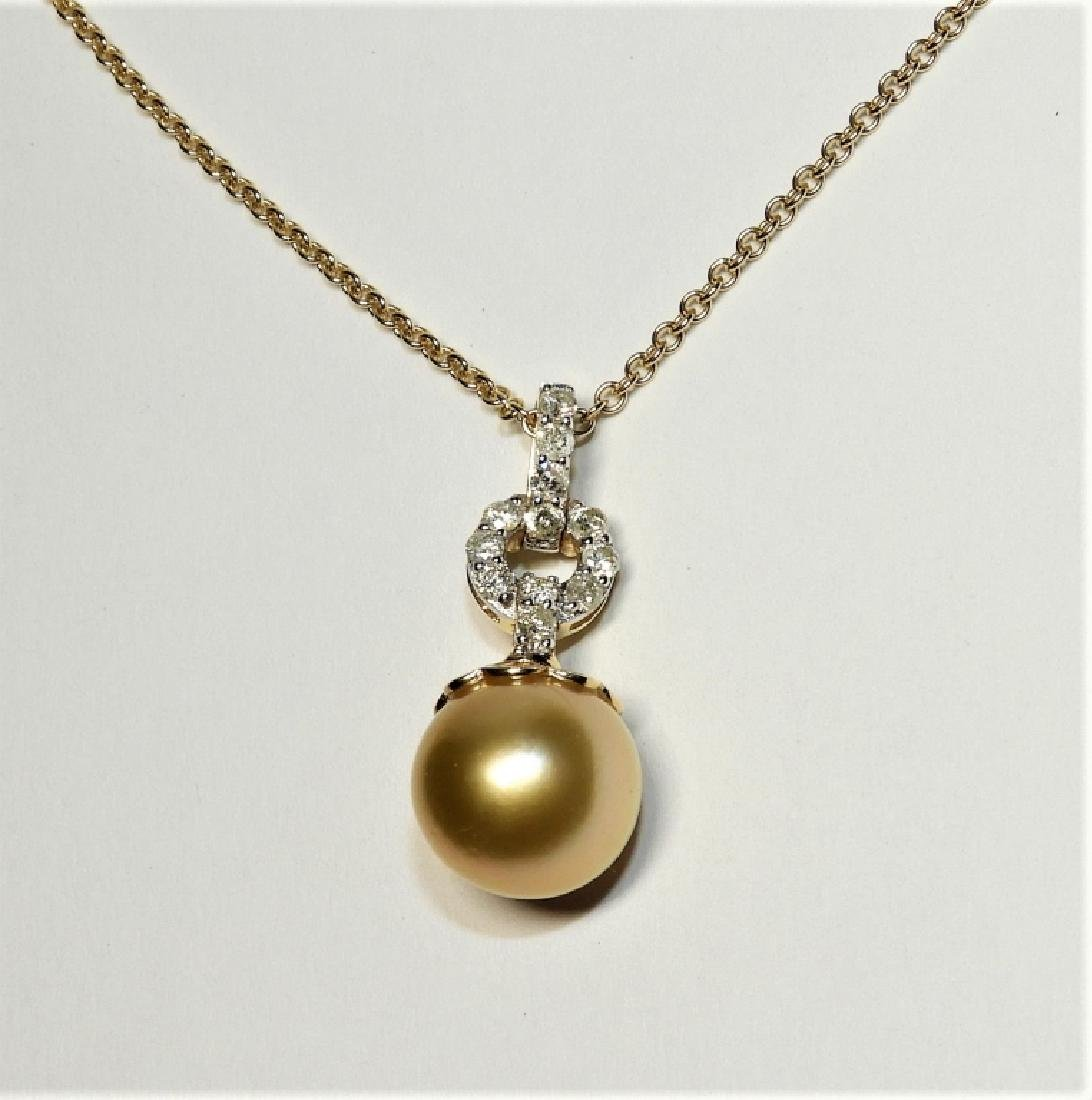 18K Yellow Gold Pearl & Diamond Pendent Necklace