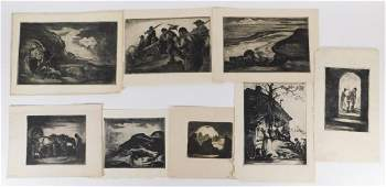8PC Eugene Higgins Social Realist Etchings