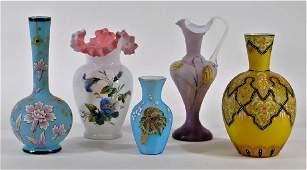 5PC Bohemian American Enamel Art Glass Vases