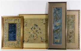 4 Chinese Qing Dynasty Silk Embroidery Textiles