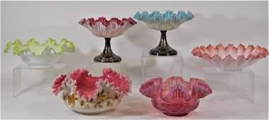 6 Victorian Satin Enamel Art Glass Brides Baskets